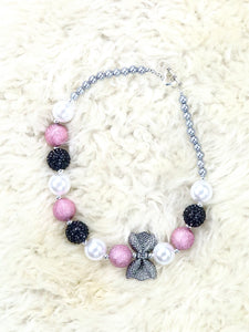 Pink / Black Bow Pearl Bubblegum Necklace