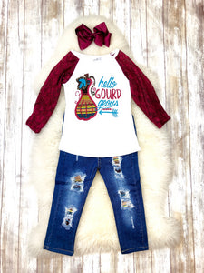 Hello GOURDgeous Lace Denim Outfit