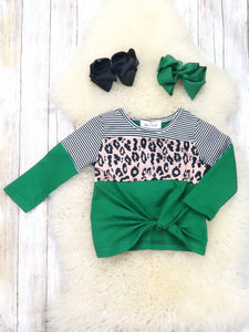 Mom & Me Green Leopard Twist Top