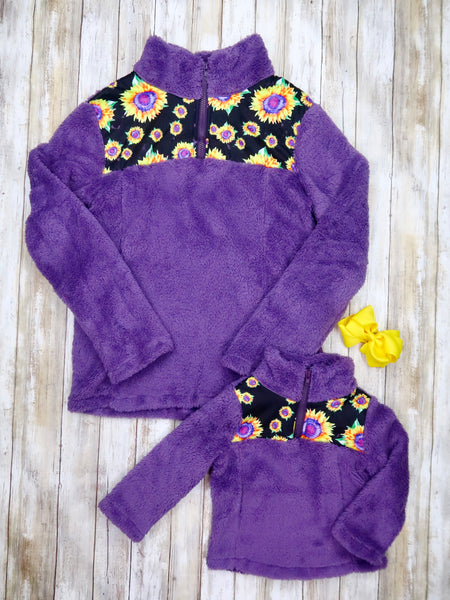 Mom & Me Purple Sunflower Sherpa Pullover
