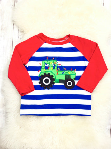 Christmas Lights Tractor Striped Raglan Shirt