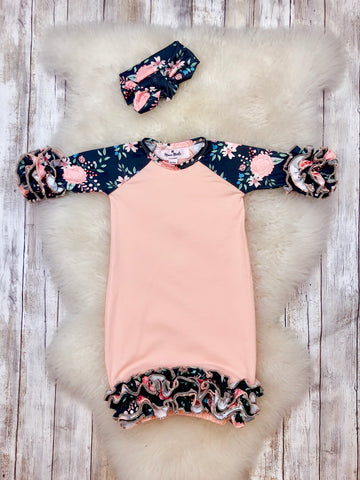 Ash Peach Icing Gown with Headband Preorder - Ships Nov 11th