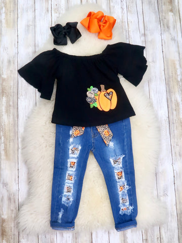 Black Pumpkin Shirt & Distressed Denim Outfit