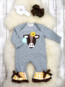 Gray Polka Dot Cow Ruffle Romper