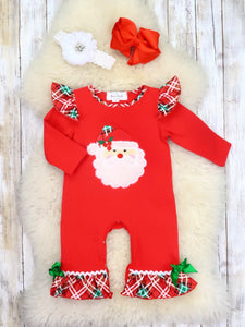 Red Plaid Santa Ruffle Romper