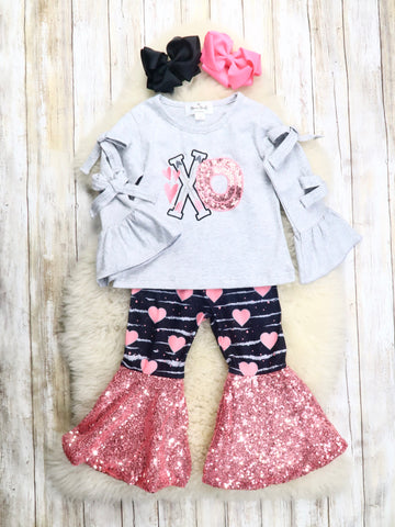 """XO"" Bow Top & Sequin Bell Bottoms Outfit"