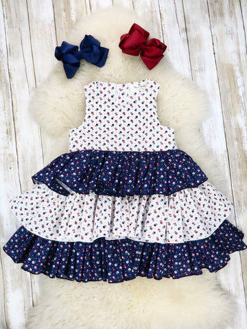 White / Navy Cotton Mini Floral Layer Dress
