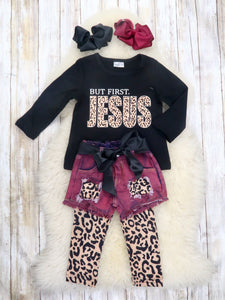 """But First Jesus"" Top, Shorts, & Leggings Outfit"