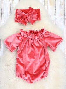 Velvet Open Shoulder Bubble with Headband - Coral