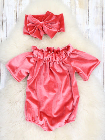 Velvet Open Shoulder Bubble with Headband - Rose Pink