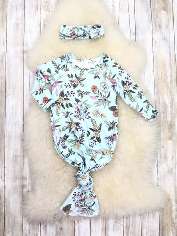 Fall Baby BLUE Floral Sleep Gown
