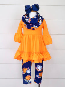 Orange/Navy Pumpkin Ruffle Top Leggings & Scarf Outfit