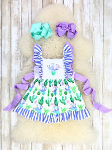 Prickly Pear Cactus Ruffle Dress