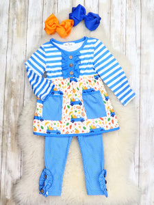 Blue Striped Pumpkin Truck Top & Ruffle Pants Outfit