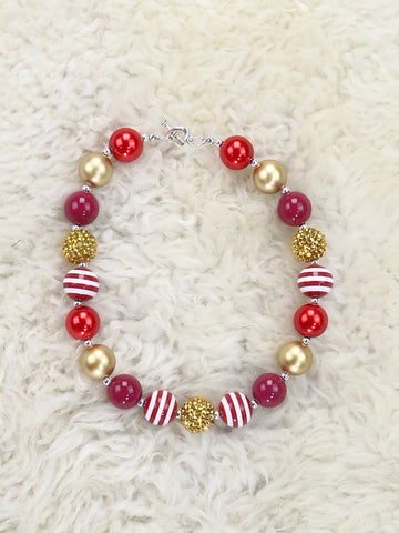 Red / Gold Striped Bubblegum Pearl Necklace