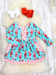 Sky Blue Peppermint Nutcracker Ruffle Dress