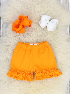 Cotton Ruffle Shorts - Orange