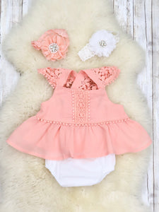 Coral Lacy Peplum Top & Bloomers Outfit-Infant