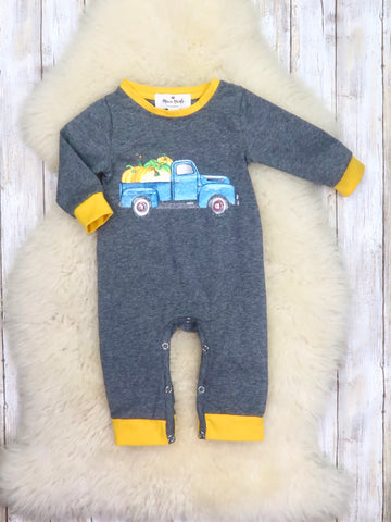 Blue Pumpkin Truck Gray Romper