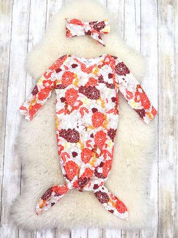 Red / Orange Fall Floral Sleep Gown & Headband