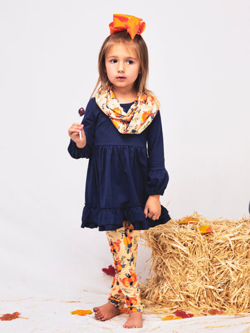 Navy Tunic Pumpkin Leggings & Scarf Outfit
