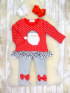 Red Polka Dot Santa Top & Striped Bow Pants Outfit
