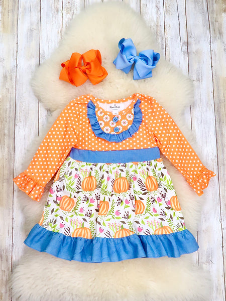 Orange Polka Dot Pumpkin Ruffle Dress
