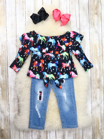 Black Rainbow Horse Ruffle Top & Distressed Denim Outfit