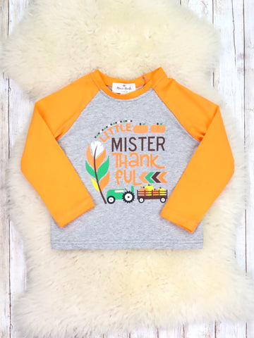 "Orange / Gray ""Mister Thankful"" Shirt"