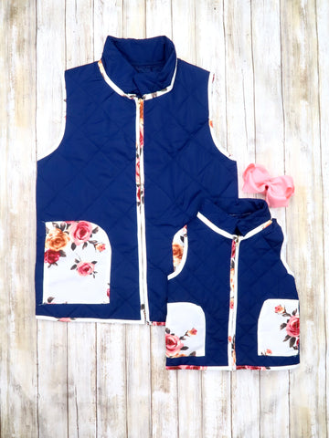 Mom & Me Navy and White Floral Vest