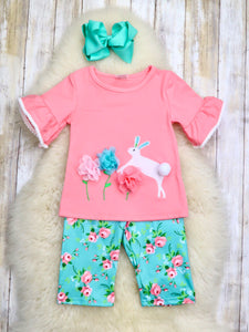 Pink Top & Teal Floral Spring Bunny Capri Outfit