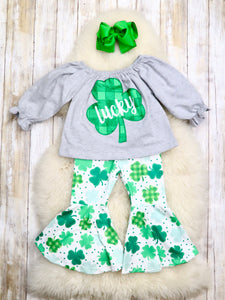 Lucky Shamrock Bell Bottom Outfit