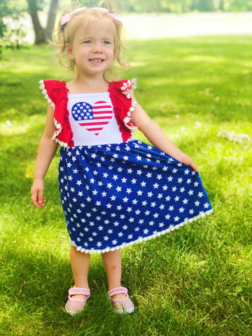 American Flag Heart Ruffle Dress - Patriotic