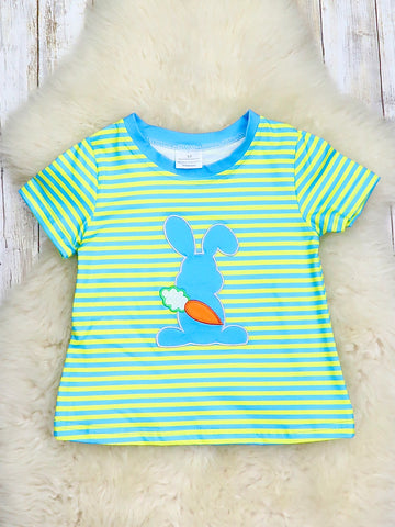 Blue & Yellow Striped Bunny Short Sleeve Shirt
