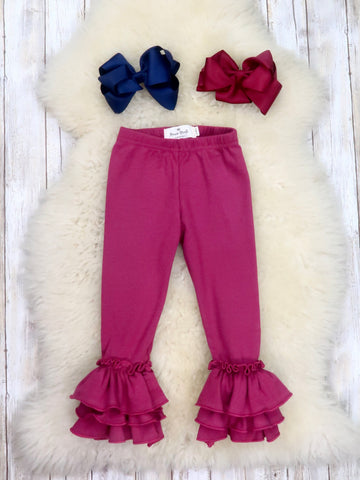 Cotton Tulip Ruffle Leggings - Electric Purple