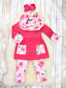 Hot Pink Rose Tunic, Pants, & Scarf Outfit