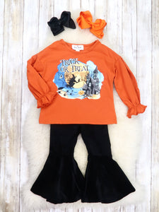 "Orange ""Trick or Treat"" Ruffle Top & Black Velvet Bell Bottoms Outfit"