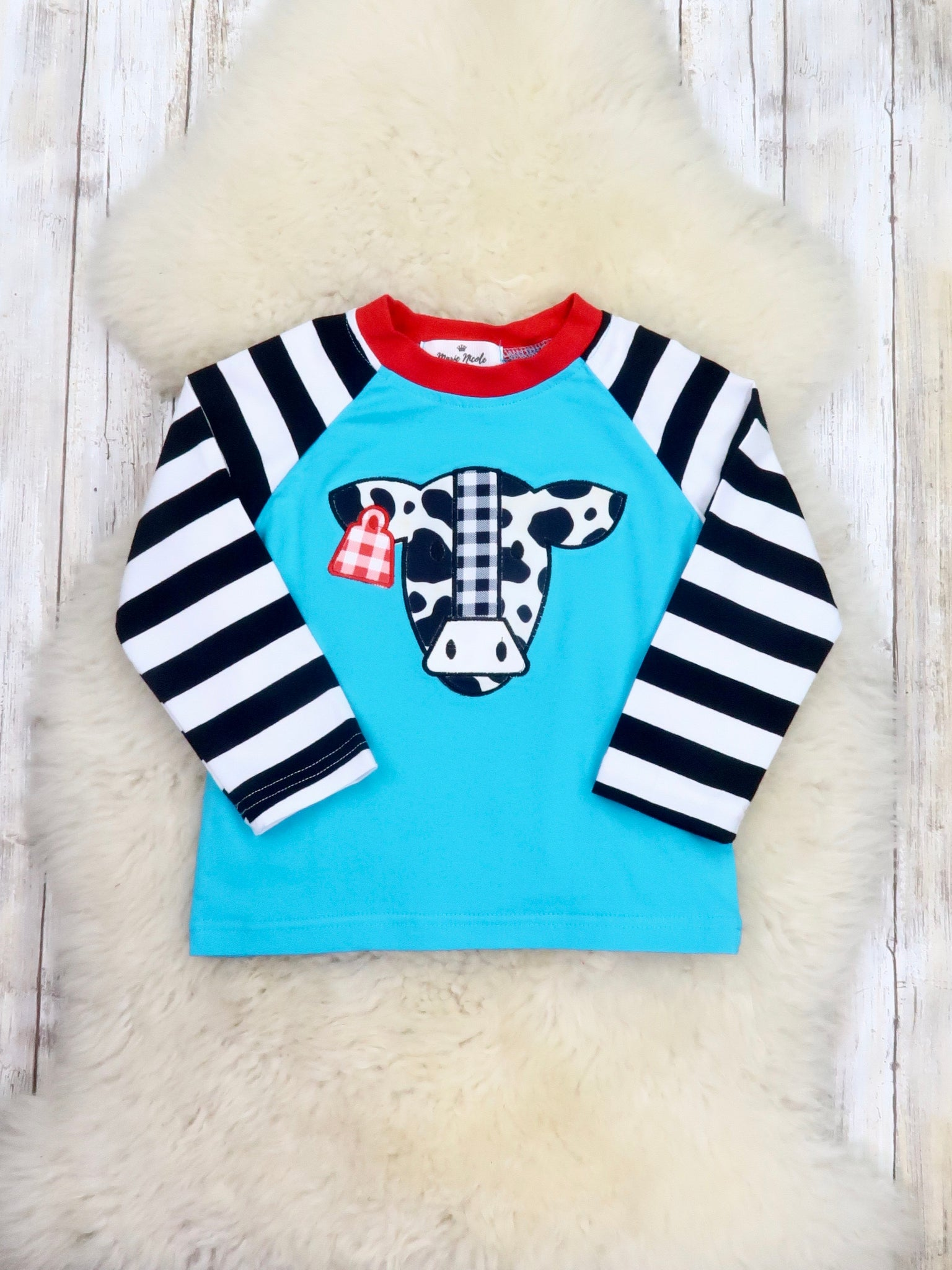 Striped Sleeve Blue Cow Shirt