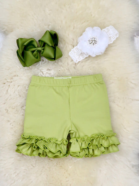 Cotton Ruffle Shorts - Olive