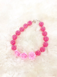 Pink Rose Bubblegum Necklace