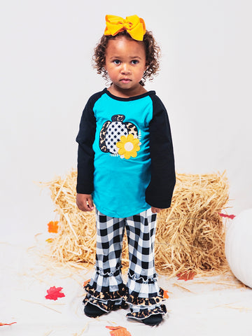 Black/Blue Pumpkin Shirt & Plaid Ruffle Pants Outfit