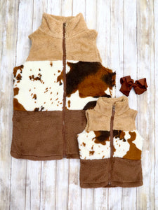 Mom & Me Brown Furry Cow Print Vest