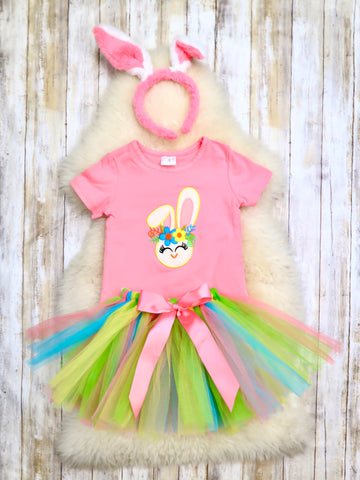 Bunny T-Shirt & Tulle Skirt Outfit With Ears Headband