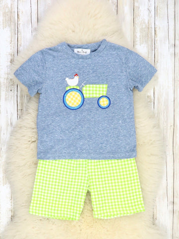 Heather Blue & Lime Green Chicken On a Tractor Shorts Outfit