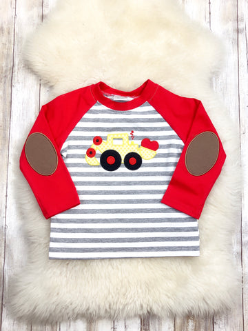 Digger Hearts Red/Striped Raglan T-Shirt