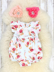 Rose Garden Ruffle Bubble Romper