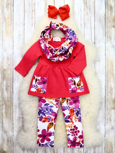 Red / Purple Floral Tunic, Pants, & Scarf Outfit