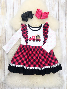 Hot Pink Plaid Cow Truck Ruffle Dress