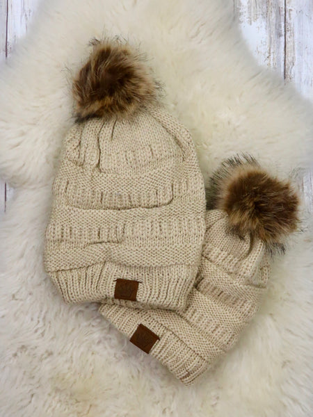 Mom & Me Fur Lined Knit Hat - 5 colors available.