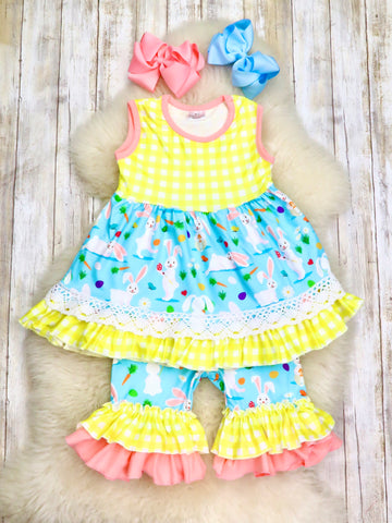 Yellow Plaid & Blue Bunny Outfit